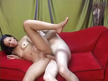 Slutty Indian bitch gets on her knees to give blow job before getting slammed